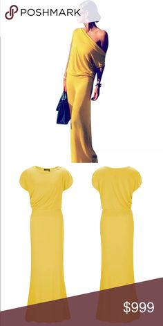 Sassy MaxiHP Gorgeous off the shoulder maxi in summer yellow. Elegant and classy. Great for a night out. The color is very nice but looks more like a darker/ brighter yellow. See photo. Non Branded Dresses Maxi