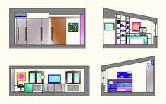 Nuovi arredi per camera-studio di appartamento in borgo storico - Prospetti laterali camera ragazzi - Maria Teresa Azzola Designer - Bergamo 2015