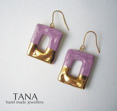 Ceramic earrings frame shape rose marble and gold. by Tanaart, $33.00