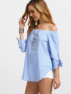Shop Striped Off Shoulder Tie Cuff Blouse online. SheIn offers Striped Off Shoulder Tie Cuff Blouse & more to fit your fashionable needs. Striped Off Shoulder Top, Off Shoulder Tops, Diy Fashion, Fashion Outfits, Casual Outfits, Cute Outfits, Diy Kleidung, Off Shoulder Fashion, Mode Top