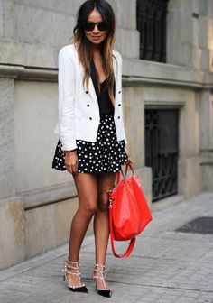 White blazer, polka dots, and red. | Sincerely Jules
