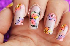 decoracion de uñas mariposa multicolor 3-3 Pretty Nails, Nail Art, Flowers, Beauty, Manicures, Square Nails, Nail Stickers, Nailed It, Fingernails Painted