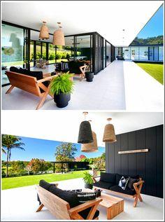 Casa unifamiliare su un unico livello con un ampio cortile Modern Architecture, Beautiful Homes, Floor Plans, Patio, Flooring, How To Plan, Outdoor Decor, Instagram, Home Decor