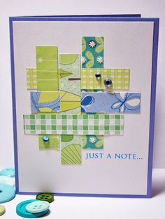 handmade card ... woven strips of patterned papers in greens and blues ... bright and pretty ... good way to upcycle lovely papers ..,.