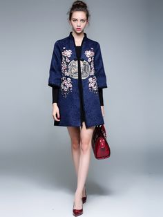 Floral Embroidery Chinese Tang Suit Women's Coat
