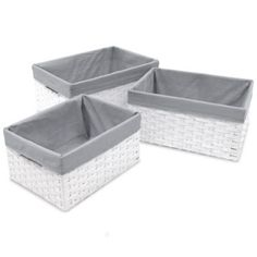 Buy W.C. Redmon 3-Piece Basket Storage Set with Grey Liners in White from Bed Bath & Beyond