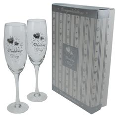 M atching pair of Wedding Champagne Flutes, presented in their own satin lined display box. Engraved Champagne Flutes, Wedding Champagne Flutes, Wedding Glasses, Champagne Gifts, Wedding Gift Inspiration, Wedding Gifts, Wedding Day, Display Boxes, Inspirational Gifts