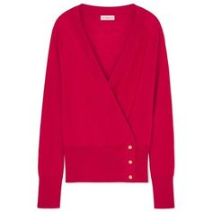 Tory Burch Kendall Cardigan ($150) ❤ liked on Polyvore featuring tops, cardigans, redstone, v neck wrap top, pink top, merino wool tops, v-neck cardigan and merino cardigan