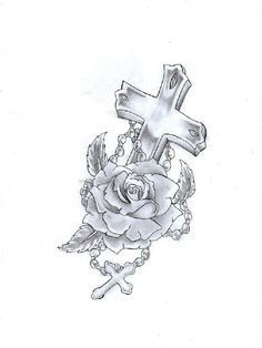 Rose+Tattoo+with+a+cross | ... navigation cross rosary ...  Rose+Tattoo+wit...