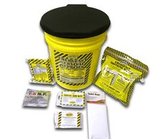 Economy Emergency Honey Bucket Kits include food, water, sanitation, first aid and a solar blanket.