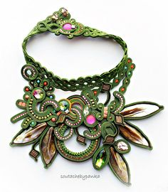 Necklace are made with embroidery technique of soutache braid. Made with Swarovski and czech Crystals, metal, Soutache braids, Czech Beads, lunasoft cabosons, mineral stone, japanese seed beads.... __________________________________________________________________________ Necklace