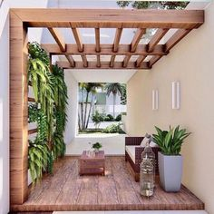 Backyard Patio Designs, Pergola Designs, Backyard Landscaping, Pergola Ideas, Outdoor Pergola, Outdoor Decor, Wooden Pergola, Small Patio, Outdoor Living