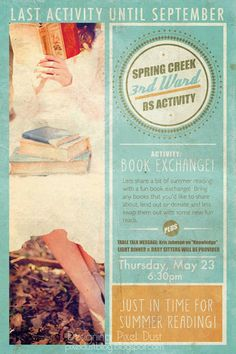 Book exchange party -event poster design by Julia M. DeLeeuw
