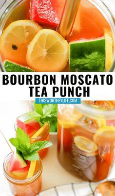 Tea Cocktails, Bourbon Cocktails, Summer Cocktails, Drink Recipes Nonalcoholic, Cocktail Recipes, Alcoholic Beverages, Punch Recipes, Tea Recipes, Bourbon Punch Recipe