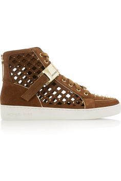 MICHAEL Michael KorsKeaton studded cutout suede high-top sneakers