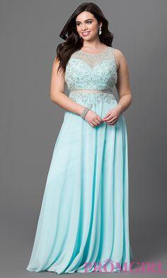 Image of plus size long sleeveless mock two piece chiffon dress  Front Image