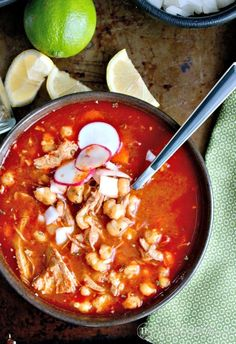 Nana's Pozole Mexican Soup Tried and true family recipe from Nana herself! This Pozole Mexican Soup with pork and hominy is a family favorite dish often served during the holidays! Pork Recipes, New Recipes, Cooking Recipes, Favorite Recipes, Dinner Recipes, Family Recipes, Recipies, Jamaican Recipes, Cooking Tips