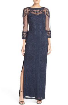 Petite Women's JS Collections Illusion Soutache Column Gown,