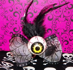 Yellow Zombie Eyeball Spider Bow Hair Clip by Pinkspiderwebs