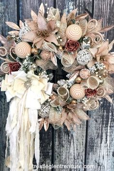 I love the rose gold in this Victorian Christmas Wreath. It will look beautiful in my living room along with my shabby chic Christmas decor Victorian Christmas Decorations, Christmas Wreaths For Front Door, Shabby Chic Christmas, Elegant Christmas, Gold Christmas, Holiday Wreaths, Christmas Time, Winter Wreaths, Christmas Things