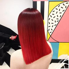 Medium Blunt Cherry Red Ombre Hairstyle
