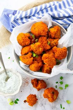 Cauliflower Buffalo Wings in a Bowl with Ranch Sauce on the Side