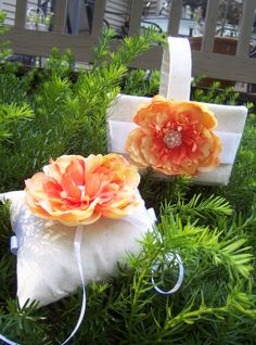 On Trend Orange Peach Yellow Silk Blossom by HaynerDesigns on Etsy, $54.00