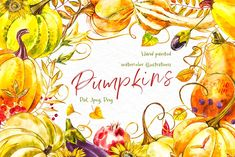 Ad Pumpkins Watercolor Collection By Ann Astro On Creativemarket Pattern Illustration, Botanical Illustration, Watercolor Illustration, Graphic Illustration, Illustrations, Digital Illustration, Thanksgiving Art Projects, Thanksgiving Flowers, Thanksgiving Decorations