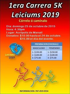 "https://mieventoonline.com/index.php/events/event-catagories/ciclismo-recreativo/event/60/1era-Carrera-5K-Leiciums-2019?utm_content=buffer98446&utm_medium=social&utm_source=pinterest.com&utm_campaign=buffer  Regístrate y llega este Domingo, 25 Oct al Acrópolis de Manatí  ""Córrelo o camínalo"" - 5K"