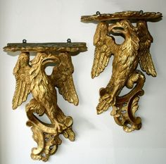 PAIR OF CARVED AND GILT WOOD EAGLE WALL BRACKETS | Gold Wooden Brackets, Wall Brackets, Classic Architecture, Gold Walls, Chinoiserie, Chandelier Lighting, Rococo, Baroque, Candlesticks