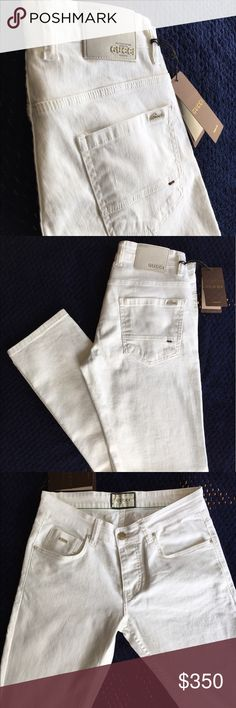 Gucci White Skinny Jeans Slim-fit stretch denim jeans in white. Five-pocket styling. Signature matel Gucci at back pocket. Leather logo patch in tan at back waistband. Body: 95% cotton, 5% elastane. Made in Italy. Gucci Jeans Skinny