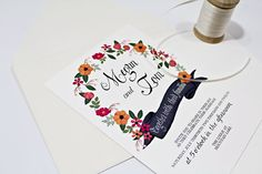 Hand Painted Floral Wedding Invitation with Mix by BeholdDesignz