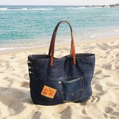 #denimbag on the beach #upcycling #handmade #jeansrecycling #속초 #당일치기여행 #등대해수욕장
