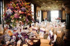 Wedding venue decorated with flowers