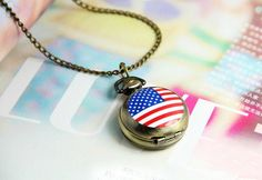 $9.99  Vintage Flag Pocket Clock Pendant Necklace