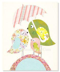 "The Pink Bird Family,  Personalized 8x10"" Nursery Print, Baby Girl Room Decor, Nursery Art, Animal Art, Little Birds Illustration, Pastels. $15.00, via Etsy."