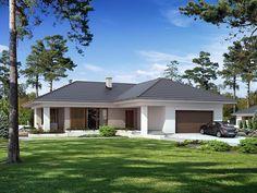 Projekt Aksamit. Jednorodzinny budynek mieszkalny, parterowy, niepodpiwniczony, przeznaczony dla 4-osobowej...