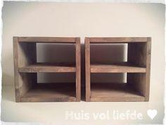 Hockers / nachtkastjes #steigerhout www.huisvolliefde.nl