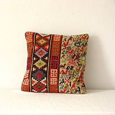 Vintage Kilim Wool Pillow with Animals by jillbent on Etsy, $45.00