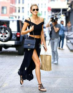 Karlie Kloss in a $49 TTYA x Long Tall Sally crop top, made specifically for tall girls