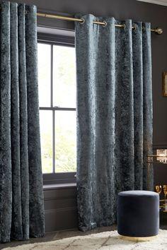 Buy Crushed Velvet Eyelet Lined Curtains from the Next UK online shop Pleated Curtains, Grey Curtains, Lined Curtains, Curtains With Blinds, Blackout Curtains, Velvet Curtains Bedroom, Velvet Room, Crushed Velvet Sofa Living Rooms, Custom Drapes