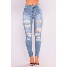 Nixie Pearl Skinny Jeans Light Blue Wash ($20) ❤ liked on Polyvore featuring jeans, high-waisted jeans, high waisted distressed jeans, high waisted distressed skinny jeans, high waisted ripped skinny jeans and distressed skinny jeans