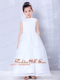 Fashionable White A-line Bateau Beading Flower Girl Dress Ankle-length Organza  http://www.fashionos.com  http://www.facebook.com/fashionos.us  Are you looking for a stunning little girl dress? Here it is! It features a scoop neckline and wide straps encrusted with carefully placed beadings. The A-line skirt has a full shape, making your little girl look just like the princess she is!