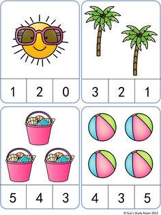 Summer Count and Clip Cards: numbers 1-20