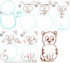 Big Guide to Drawing Cartoon Cats with Basic Shapes for Kids - How ...