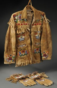 Cree/Athabascan Beaded Hide Coat and Matching Gauntlets