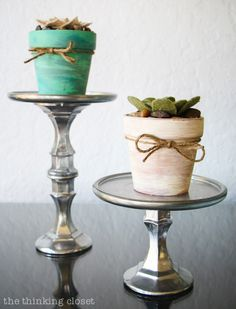 Rustic Vintage Spring Mantel: How cool are these felt succulents!  Perfect for my black thumb!  via thinkingcloset.com
