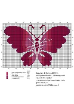 Papillon rose dégradé (rose grdiation butterfly), designed by Corinne Thulmeaux, Passion Broderie 77 blogger.