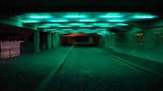 Green fluoresent lights on an underpass, Basel.