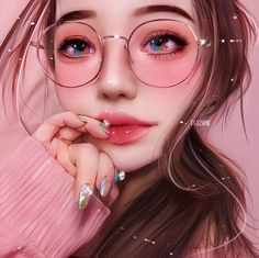 🙈another exclusive illustration! I'm lucky to find this art🙈 Anime Art Digital Art Girl, Digital Portrait, Portrait Art, Digital Art Anime, Art Anime Fille, Anime Art Girl, Anime Girls, Girly Drawings, Realistic Drawings